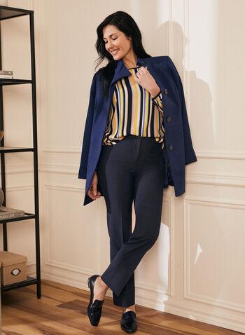 Manteau boutonné à col montant, Bleu,  manteau, col montant, manches longues, boutons, poches, printemps été 2020
