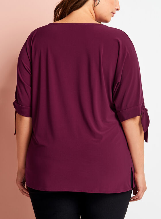 ¾ Sleeve Cutout Top, Red, hi-res