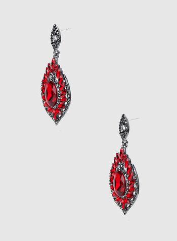 Boucles d'oreilles à pendant ovale, Rouge,  boucles d'oreilles, pierres facettées, ovale, automne hiver 2019