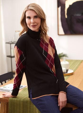 Argyle Turtleneck Sweater, Black,  fall winter 2020, turtleneck, loose, sweater, long sleeve, argyle, pattern, contrast, ribbing, ribbed, comfort, stretch, warm, tunic