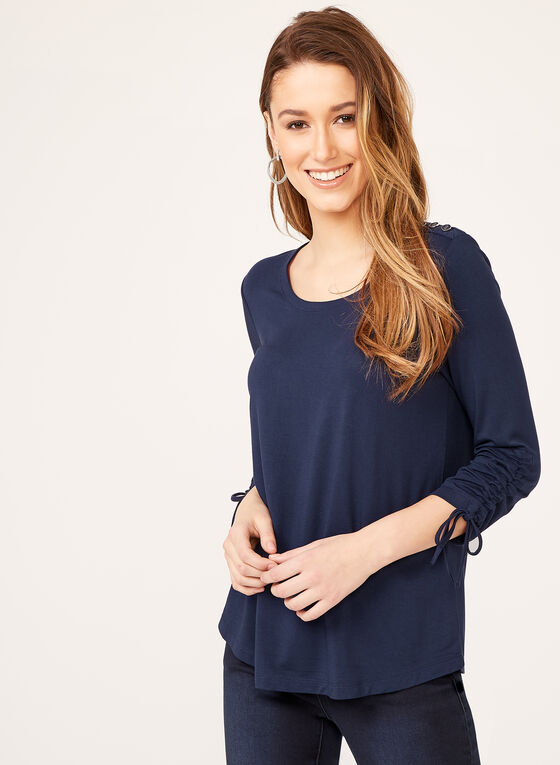 Button Trim Tie Sleeve Top , Blue, hi-res