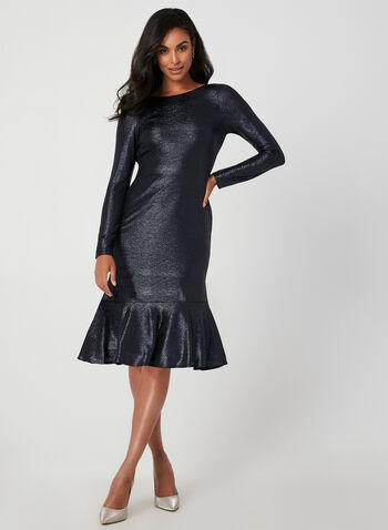 Long Sleeve Metallic Dress, Blue, hi-res,  fall winter 2019, metallic, long sleeves, cocktail dress