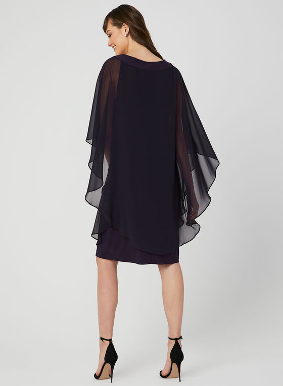 Beaded Poncho Dress, Purple, hi-res