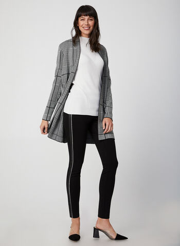 Houndstooth Open Front Cardigan, Black, hi-res,  long sleeves, open, fall 2019, winter 2019
