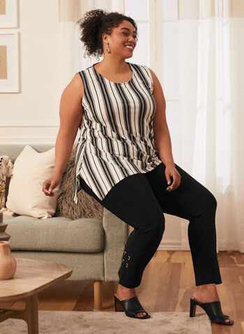 Striped Sleeveless Top, Black,  spring summer 2021, top, blouse, made in Canada, stripe, motif, striped, pattern, sleeveless, assymetric,