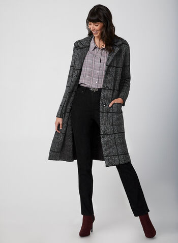 Modern Fit Straight Leg Pants, Black, hi-res,  fall winter 2019, straight leg, embroidery, stretchy denim