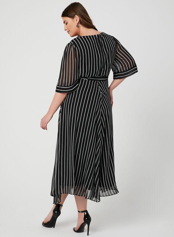 Robe rayée style enveloppe, Noir