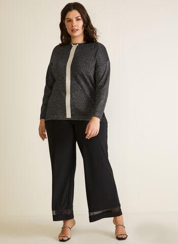 Chandail tunique en tricot , Noir,  chandail, tunique, encolure bateau, manches ¾, lurex, fibres métalliques