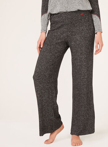 Pantalon pull-on douceur en tricot chiné, Gris, hi-res