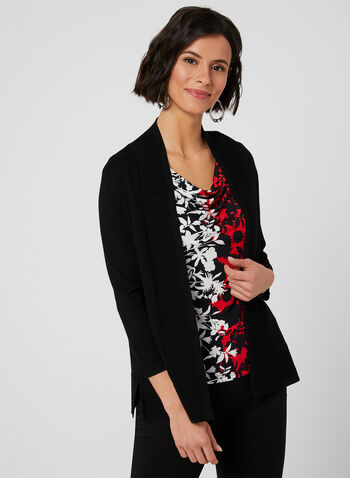Edge To Edge Ribbed Cardigan, Black,  open-front sweater, viscose cardigan, rayon cardigan, knit cardigan