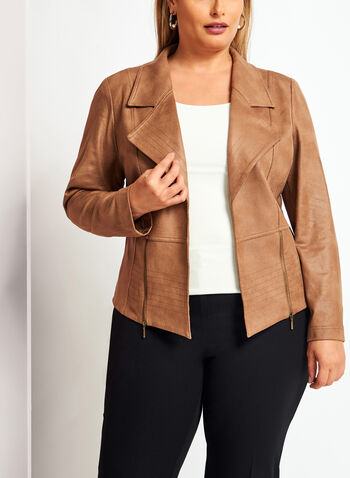 Faux Suede Jacket , Brown, hi-res