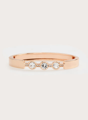 Crystal Studded Hinge Bangle, Pink, hi-res
