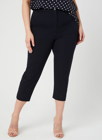 Signature Fit Slim Leg Capris, Blue, hi-res