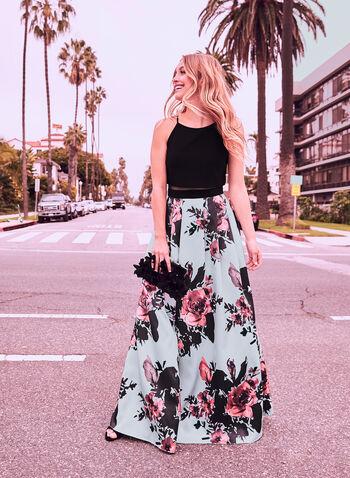 Floral Print Popover Dress, Black, hi-res,  Prom 2019, graduation, ball gown