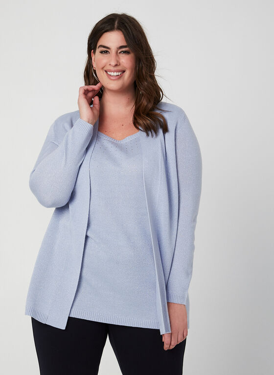 Knit Fooler Cardigan With Tank, Blue