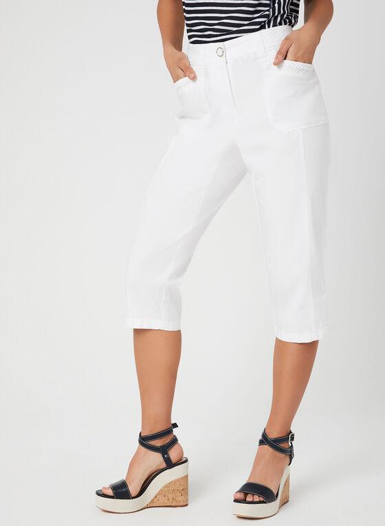 Capri cargo à coupe moderne et détails crochet, Blanc, hi-res