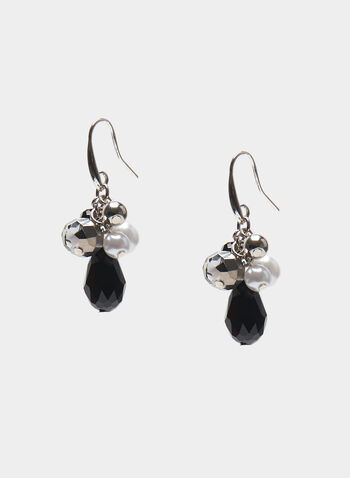 Bead Cluster Earrings, Black, hi-res