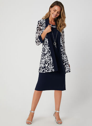 Sleeveless Dress & Mesh Jacket, Blue, hi-res,  puff print, baroque print, sleeveless, ¾ sleeve, 3/4 sleeve, jersey, mesh, necklace, fall 2019, winter 2019