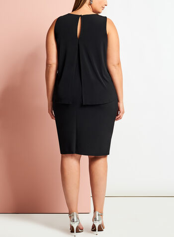Studded Popover Sheath Dress, Black, hi-res