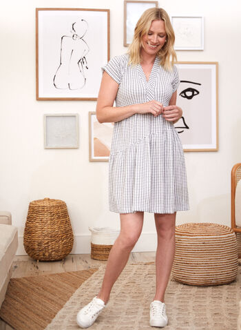 Checkered Print Dress, White,  spring summer 2021, dresses, v neck, crinkle, cinched, gathered, pleats, checker, plaid,