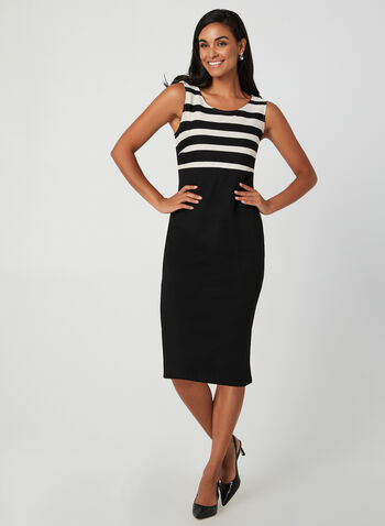 Dress & Jacket Set, Black,  fall winter 2019, knit, stripe print, two piece set, long sleeves