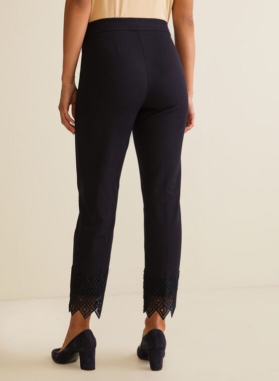 Lace Detail City Fit Pants, Blue