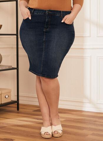 Jupe droite en denim , Bleu,  jupe, droite, jeans, poches, automne hiver 2020