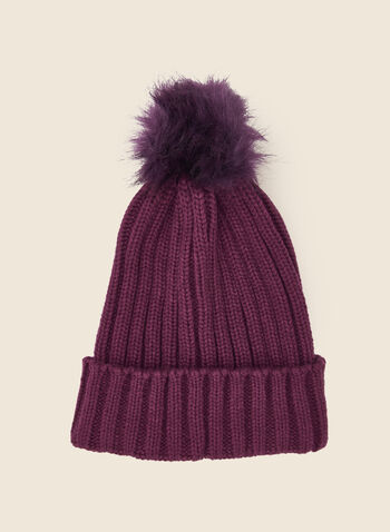 Removable Pom Pom Ribbed Hat, Purple,  fall winter 2020, tuque, hat, knitting, accessory, faux fur, removable