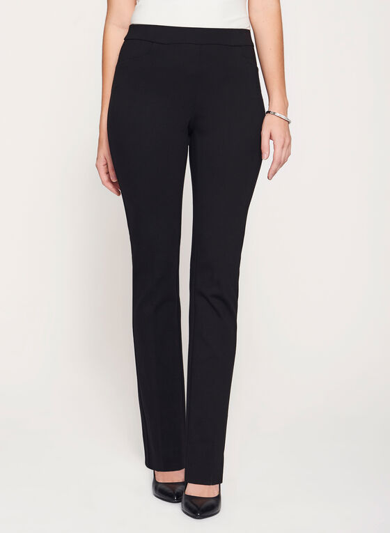City Fit Slim Leg Ponte Pants, Black, hi-res