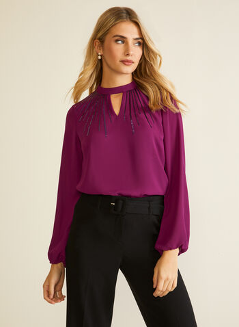 Long Sleeve Keyhole Detail Blouse, Purple,  fall winter 2020, long sleeves, keyhole, sequins, flowy, puffed