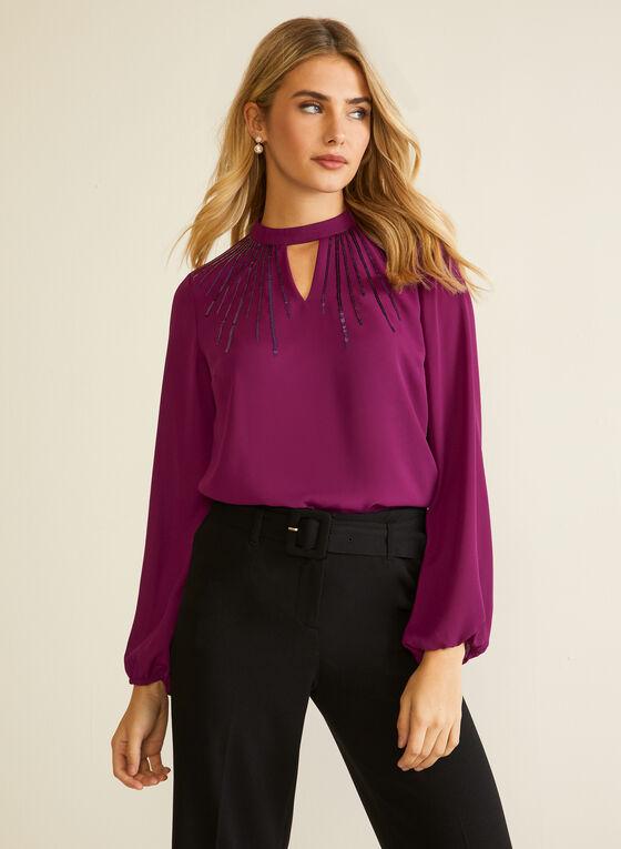 Long Sleeve Keyhole Detail Blouse, Purple