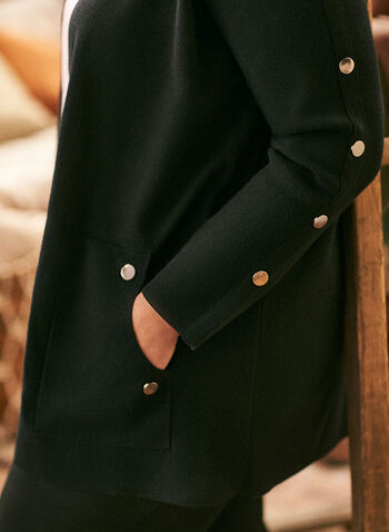 Button Detail Mid Length Cardigan, Black,  cardigan, knit, open front, button detail, fall winter 2020