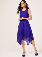 Sleeveless Midi Lace Dress, Blue, hi-res