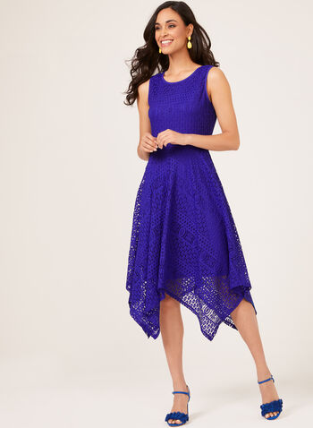 Sleeveless Midi Lace Dress, Blue, hi-res
