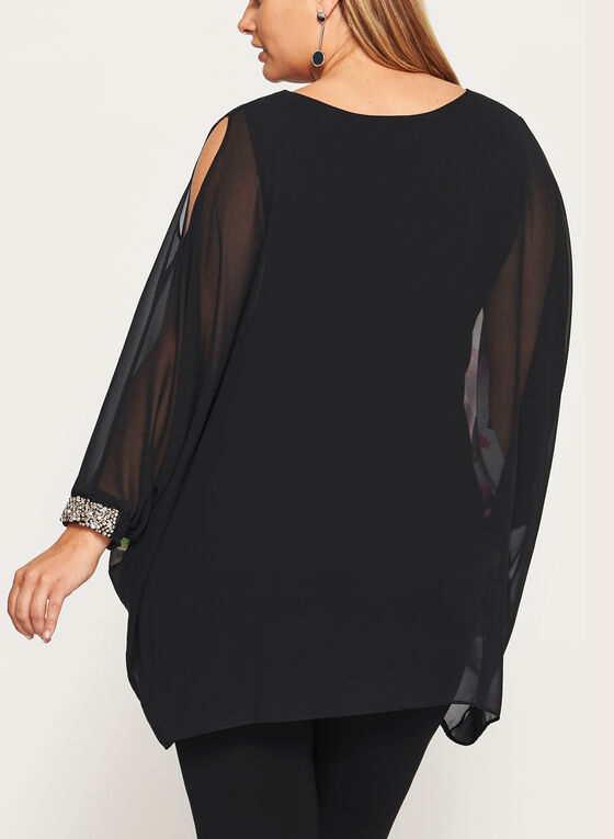 Frank Lyman - Cold Shoulder Poncho Blouse , Black, hi-res