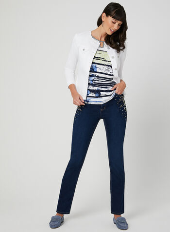 Drop Shoulder T-Shirt, Blue, hi-res,  abstract print, stripe print, short sleeves, spring 2019