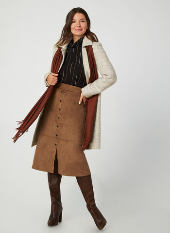 Novelti - Bouclé Wool-Blend Coat, Brown,  Novelti, coat, wool, bouclé, long sleeves, button down, fall 2019, winter 2019