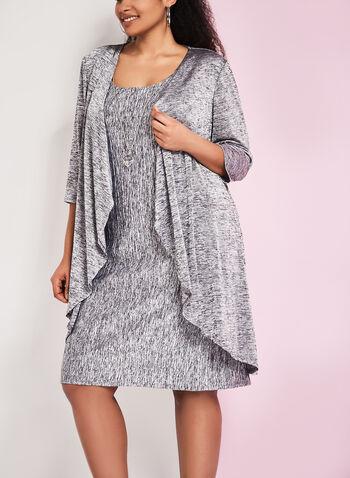 Robe texturée avec bijou et cardigan assorti, Gris, hi-res
