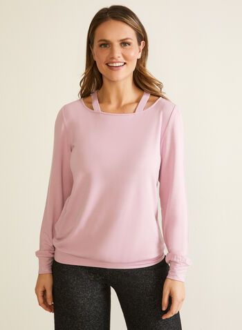 Long Sleeve Cutout Detail Top, Purple,  top, scoop neck, cutout, long sleeves, fall winter 2020