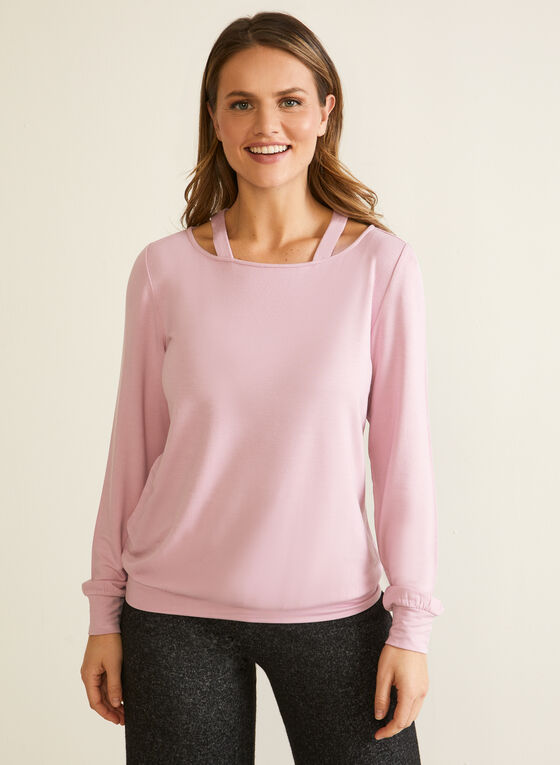 Long Sleeve Cutout Detail Top, Purple