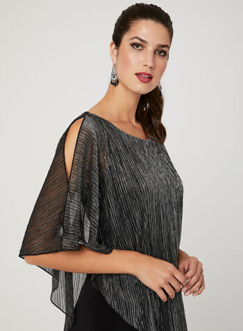 Metallic Poncho Jumpsuit, Black, hi-res