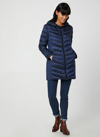 BCBGeneration - Packable Coat, Blue,  fall winter 2019, down, feathers, quilted, long sleeves