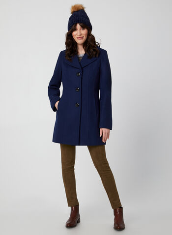 Anne Klein - Mid-Length Wool Coat, Blue,  coat, mid-length, notched collar, button closure, wool blend, lined, long sleeves, Anne Klein, fall 2019, winter 2019