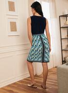 Monochrome & Geometric Print Dress, Blue