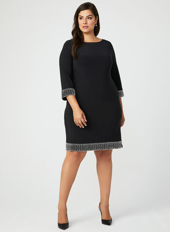 Pearl Detail Studded Trim Dress, Black, hi-res