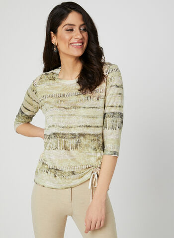 Abstract Print Top, Green, hi-res,  Spring 2019, 3/4 sleeves, abstract print, crystal