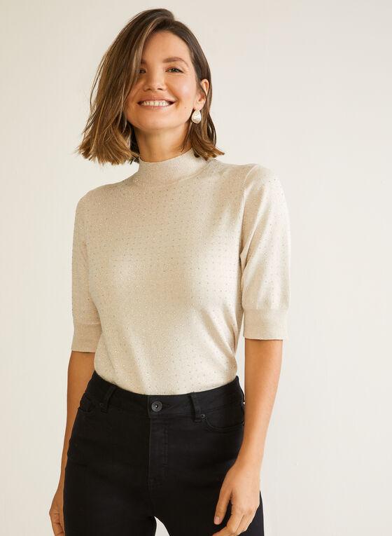 Rhinestone Mock Neck Sweater, Grey