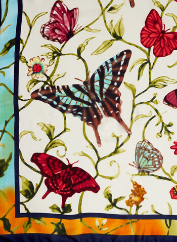 Multicolour Butterfly Print Scarf, Multi, hi-res