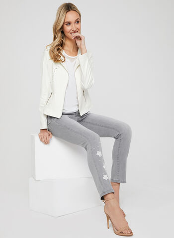 Studded Faux Leather Jacket, Off White, hi-res