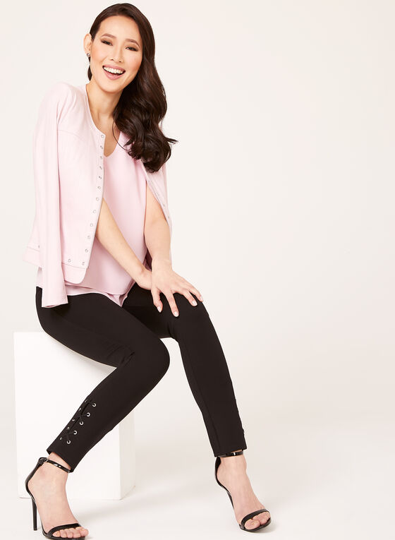 Sleeveless V-Neck Crepe Blouse, Pink, hi-res